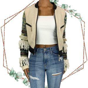TOV Holy fleece jacket embellished sleeves sz 40